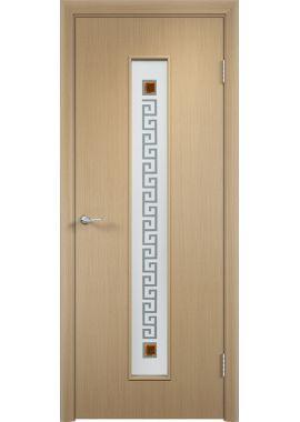 Остекленная дверь МДФ С17 с рисунком Квадрат (цвет: беленый дуб)